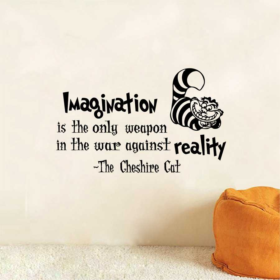 Alice In Wonderland Wall Decals Cat Quotes Imagination Is The Only Weapon Vinyl Wall Sticker Wall Art Stickers Alice In Wonderland Wall Vinyl Wall Stickerswall Sticker Aliexpress