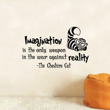 """Alice In Wonderland Wall Decals Cheshire Cat Quotes- """"Imagination is the only weapon..""""Vinyl Wall Sticker Wall Art Stickers"""