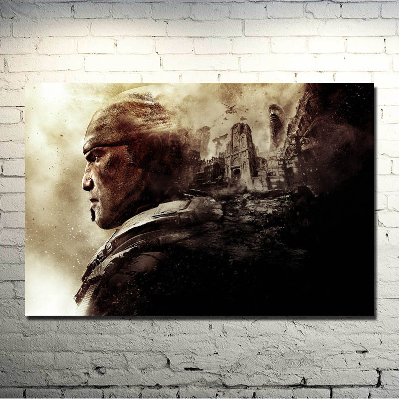 Gears of War 3 4 Art Silk Poster Print 13x20 32x48 inches Hot Military Shooting Game Pictures For Living Room Decor 030