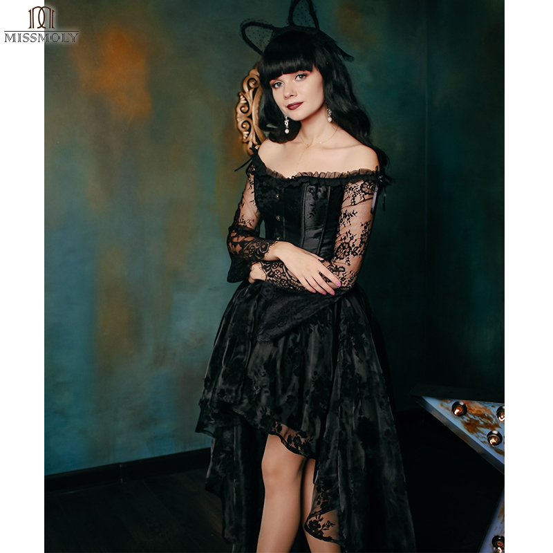 22af0ccc519 Steampunk Corset Sexy Gothic Bustier Irregular Palace Style Top Lace  Strapless Dress 14 Steel Boned Slimming Burlesque Clothes-in Bustiers    Corsets from ...