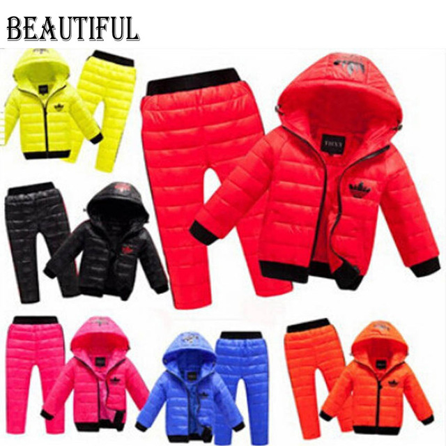 Children Set Boys girls Clothing sets winter 2-8year hoody Down Jacket + Trousers Waterproof Snow Warm kids Clothes suit 5 color