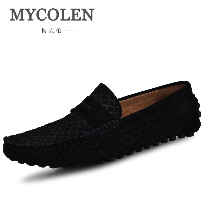 MYCOLEN Causal Shoes Men Loafers High Quality Woven Pattern Suede Leather Moccasins Men Driving Shoe Flats For Man Sapatos handmade men flat shoes 100% soft leather loafers shoes classical men driving flats moccasins for man