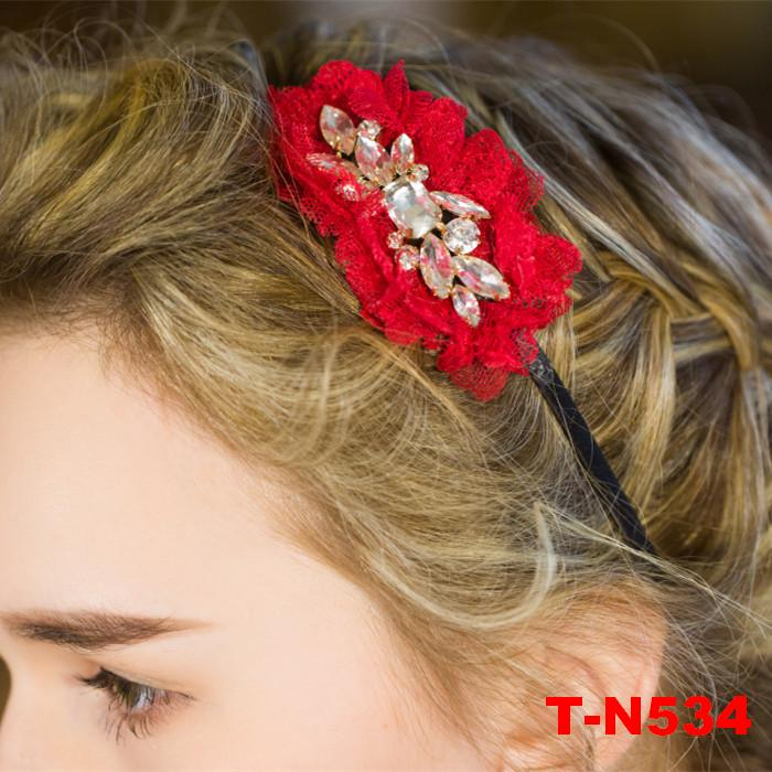 High Quality Bride Accessory Crystal Lace Red Flowers Hair Bridal Wedding Flower Garland Headbands Crowns Elastic headband