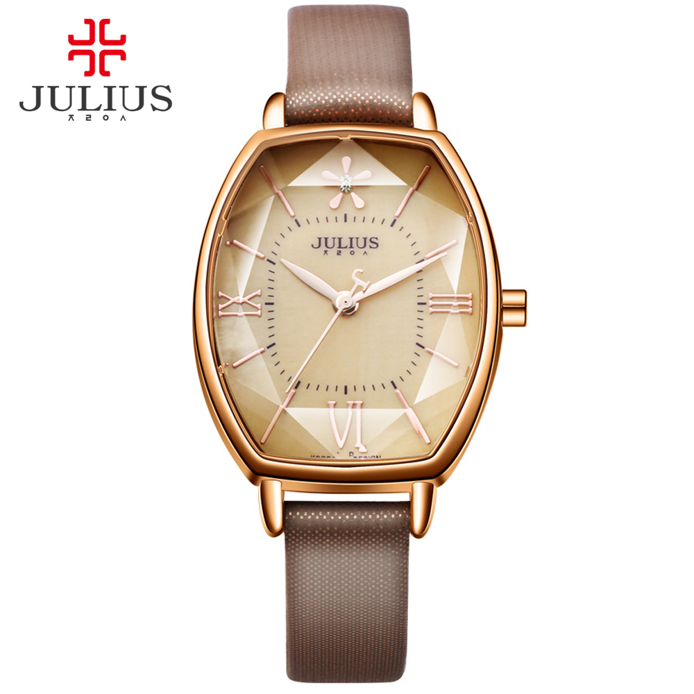 Julius Brand Rose Gold Dress lady Watch Thin Leather Quartz Watch Woman Wrist Watches Clock Montre Femme Creative Barrel shape julius quartz brand lady watches women luxury rose gold antique square casual leather dress wrist watch relogio feminino montre