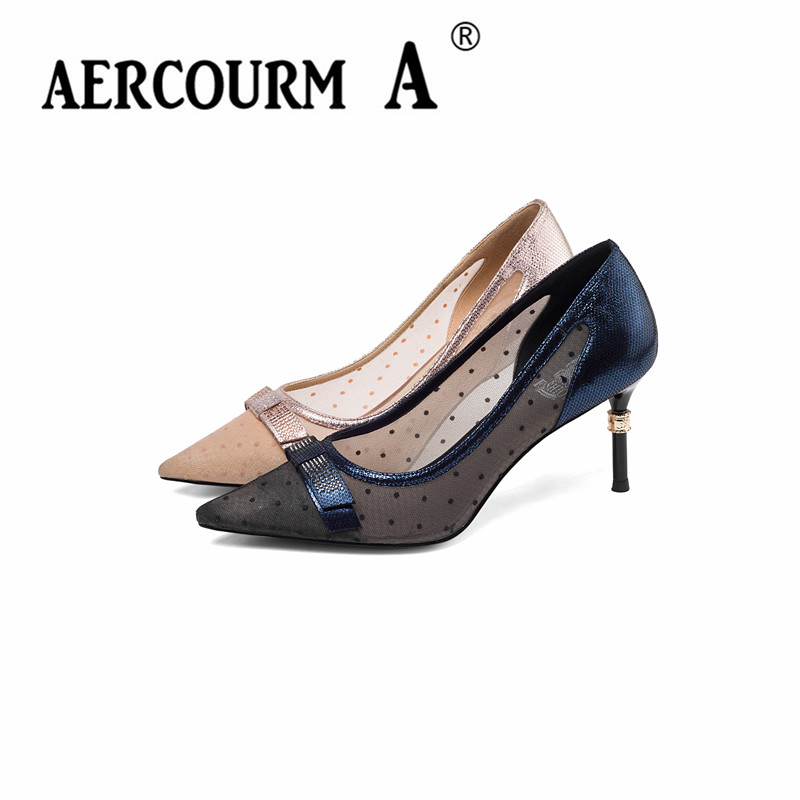 Aercourm A 2019 femmes couleur mixte pompes dame peau de mouton gaufrage chaussures à talons fins pompes vague Point printemps rose bleu maille chaussures