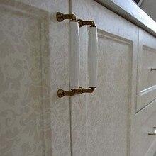 128mm kitchen cabinet handle white ceramic cupboard pull bronze drawer dresser wardrobe furniture door handles pulls knobs 5″