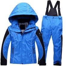 Лыжная лыжный лыжи устанавливает зимняя ветрозащитный зимние мальчики костюмы девочек куртка