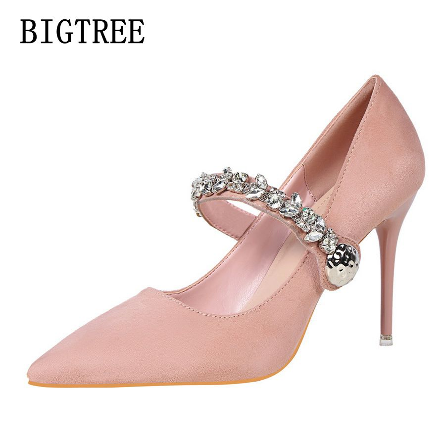 BIGTREE Spring autumn new women's high heels fashion sexy fine with shallow mouth pointed suede woman shoes banquet ladies shoes bigtree spring autumn simple shallow mouth women pumps pointed sexy was thin nightclub 10 cm fine high heels shoes