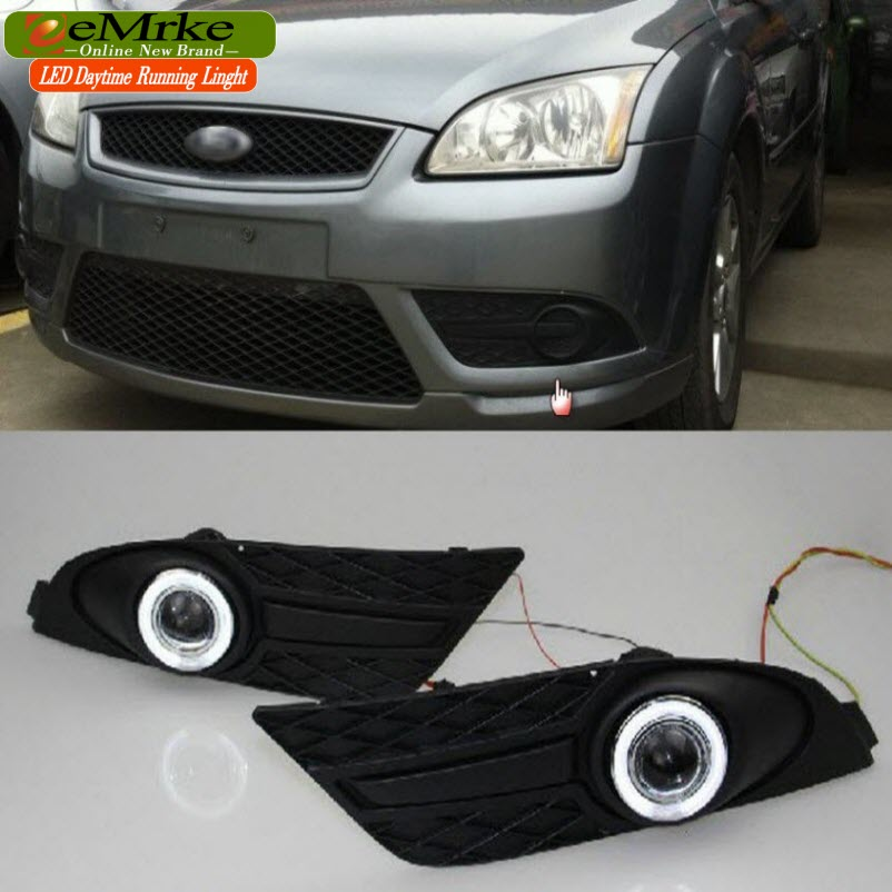 EEMRKE Car Styling For Ford Focus CC Coupe Cabriolet LED Angel Eyes DRL Driving Lights Tagfahrlicht 12V H11 55W Fog Lights Lamp eemrke car styling for ford focus 2004 2005 2006 2007 led angel eyes drl driving lights tagfahrlicht 12v h11 55w fog lights lamp