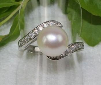 3317b10e6011 Nueva venta al por mayor natural Akoya blanco anillo de perlas cultivadas  7