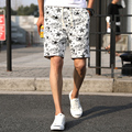 Men's beach shorts Linen personality print 2017 summer thin section breathable comfort casual men's linen shorts large size 4XL