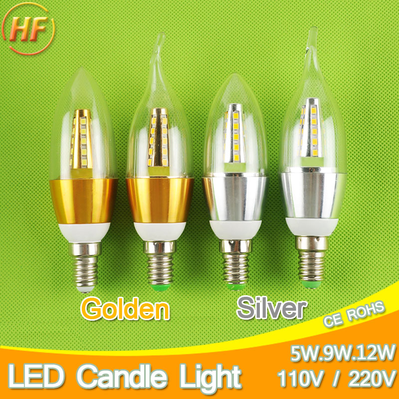 Golden Silver 5w 9w 12w E14 LED Candle Light Aluminum Shell LED Bulb 110V 220V Led Lamp E14 Cool Warm White Lampara 2835 candle led bulb e14 9w 12w aluminum shell e14 led light lamp 220v golden silver cool warm white ampoule lampara led smd 2835