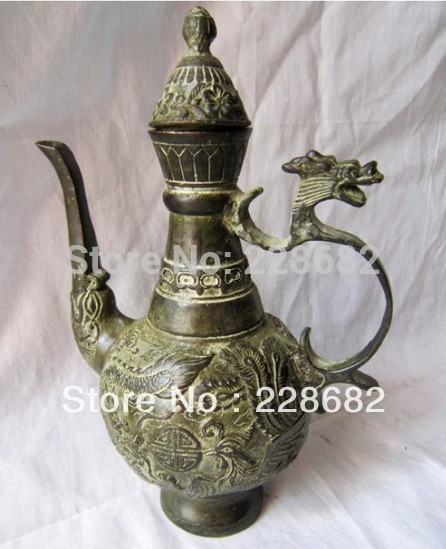 Metal Crafts Chinese Bronze Carving Dragon And Phoenix Teapot Flagon old craft live craft restorationcraft chair - title=