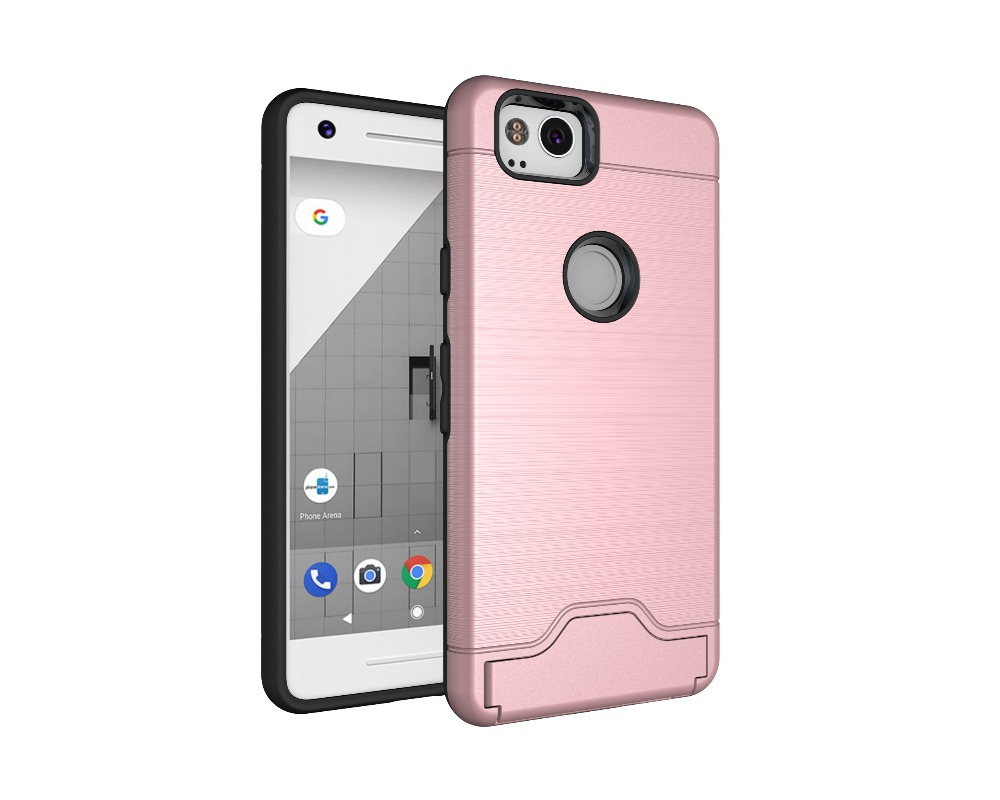 Armor Case For Google Pixel 2 2 In 1 Hybrid Back Cover Brushed Pattern Stands Case For Google Pixel 2 XL Coque