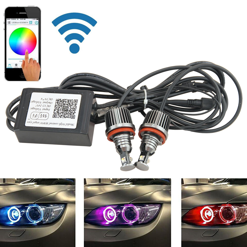 2x RGBW Color change Wifi control H8 36W ANGEL EYES Lights LED HALO Cree chips For BMW E82 E87 E92 E93 E60 E61 E90 E91 E92 E93