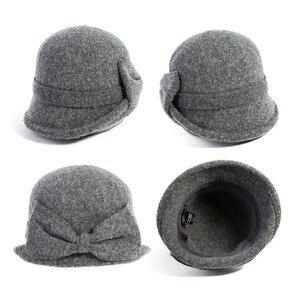 Image 4 - Fancet Women Beret Cloche Felt Hat female Bonia Winter Wool Bucket Bowler Hats Autumn 1920s Vintage Bowknot Fashion Female 16209