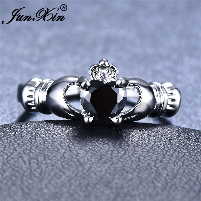 JUNXIN Round Heart Stone Black Rings For Women White Gold Filled aaa Zircon Claddagh Ring Female Wedding Bands Boho Jewelry Gift