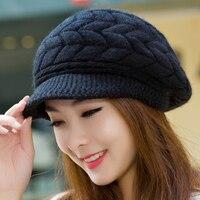 2016 Women Beret Hat Autumn Winter Thick Warm Vintage Solid Colors Soft Felt Wool Beanie Cap