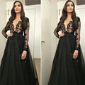 Gorgeous Long Sleeves Muslim Evening Dresses Arabic A Line Crystal Black Prom Dress 2016 Lace Prom Dress Party Formal Gown E68