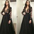 Lindo Mangas Compridas Muçulmanos Vestidos de Noite Árabe de Um Cristal Linha Black Dress prom 2016 Lace Prom Vestido de Festa Vestido Formal E68