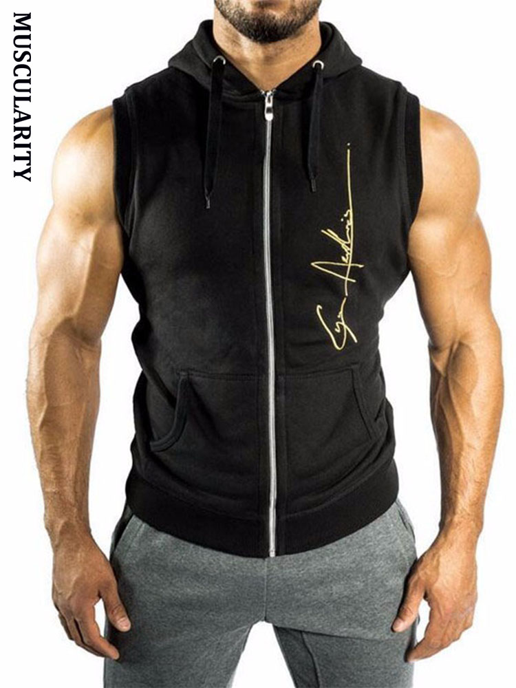 MUSCULARITY Christmas Mens Hoodie Sleeveless Bodybuilding Fitness Vest Hoodie Sweatshirts Clothing Hombre Muscle Tank Tops