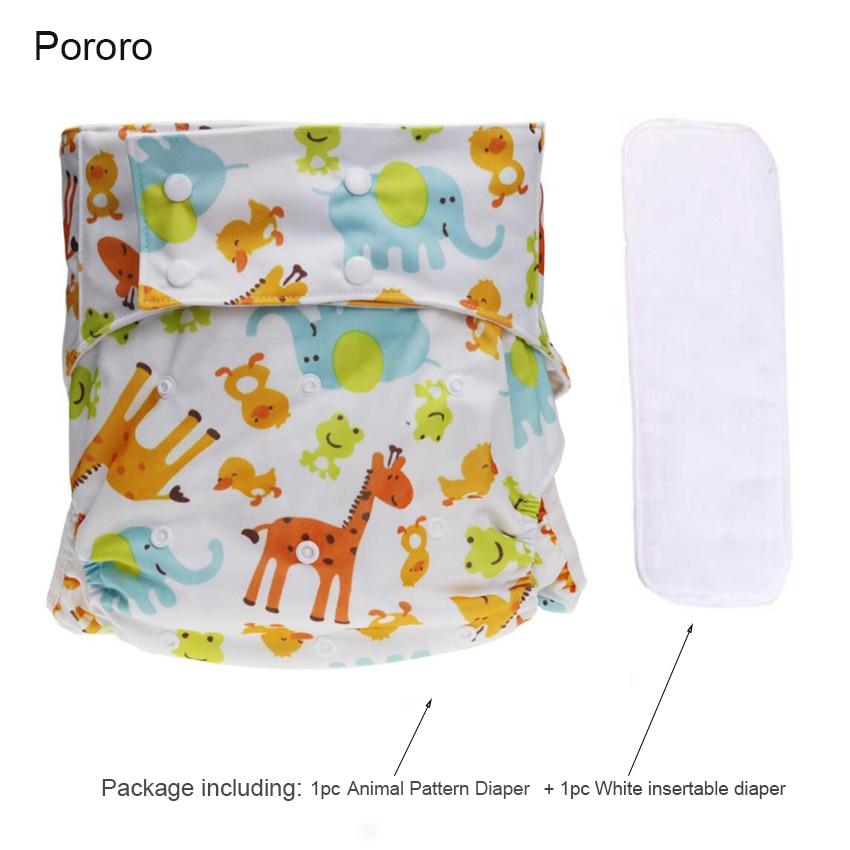 1Set Adult Cloth Diaper Washable Breathable Adjustable Pocket Diaper Reusable Animal Diapers Mat Waterproof Adult Diaper D50