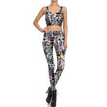 2cfffea037 NEW 1684 Sexy Girl Comic Wonder Woman Batman Cosplay Prints Women Yoga  Leggings Crop Top Vest