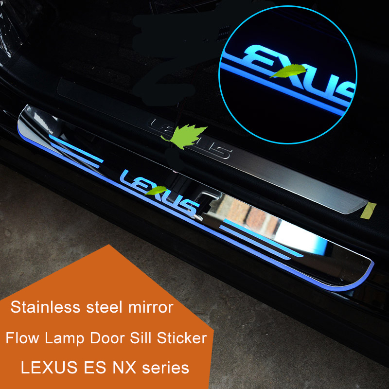 QHCP LED Door Pedal Sill Sticker Auto Welcome Light Scuff Plate Pathway Pedal Trim Strip Article Threshold Fit For LEXUS ES/NX stainless steel interior door sills scuff plates guard threshold strip plate welcome pedal 3d sticker for audi a5 2010 2016