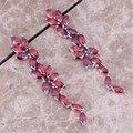 Hot Sell ! Red Created Garnet 925 Sterling Silver Drop Dangle Earrings For Women  S0193