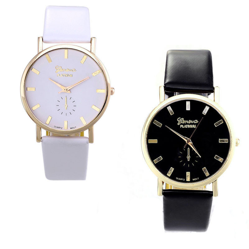 Black White Simple Watch Womens Lady Fashion Geneva Roman Leather Band Analog Quartz Wrist Watch Relojes Mujer Ladies Watches relojes mujer 2017 fashion women casual geneva roman leather band analog quartz wrist watch hot sale bayan saat relogio feminino
