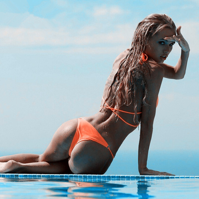 Bright Orange Classic Triangle Bikini with Brazilian Style Bikini Bottom  1
