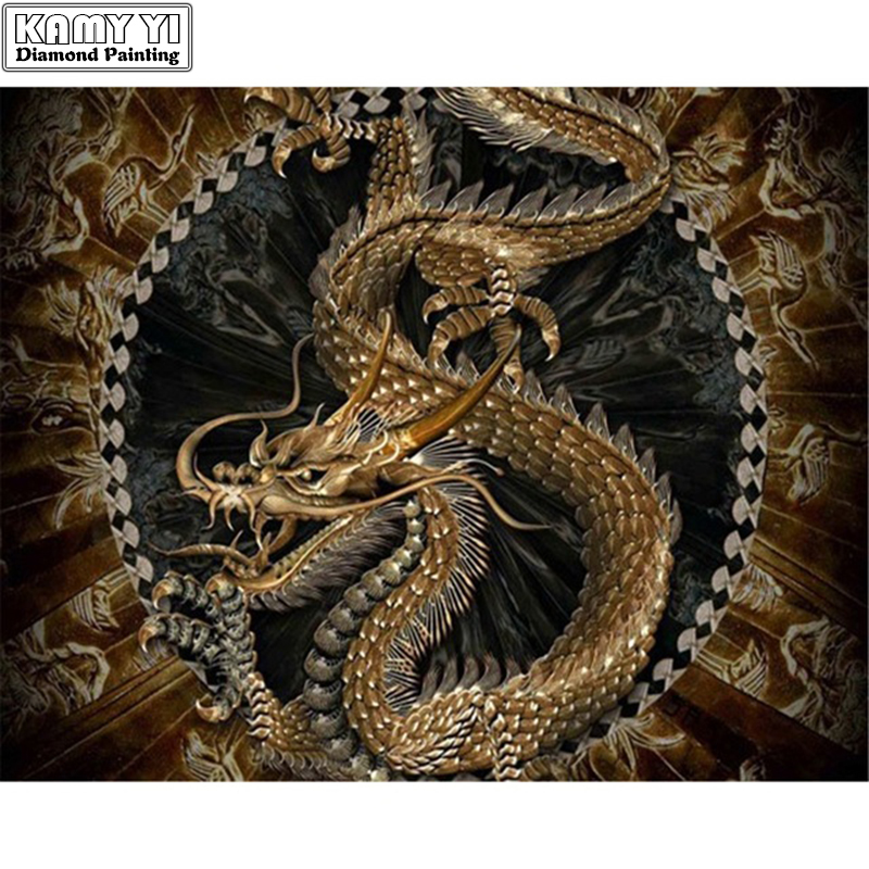 Diamond Painting Golden-Dragon Rhinestone Mosaic Home-Decoration Round with Five-Claws title=