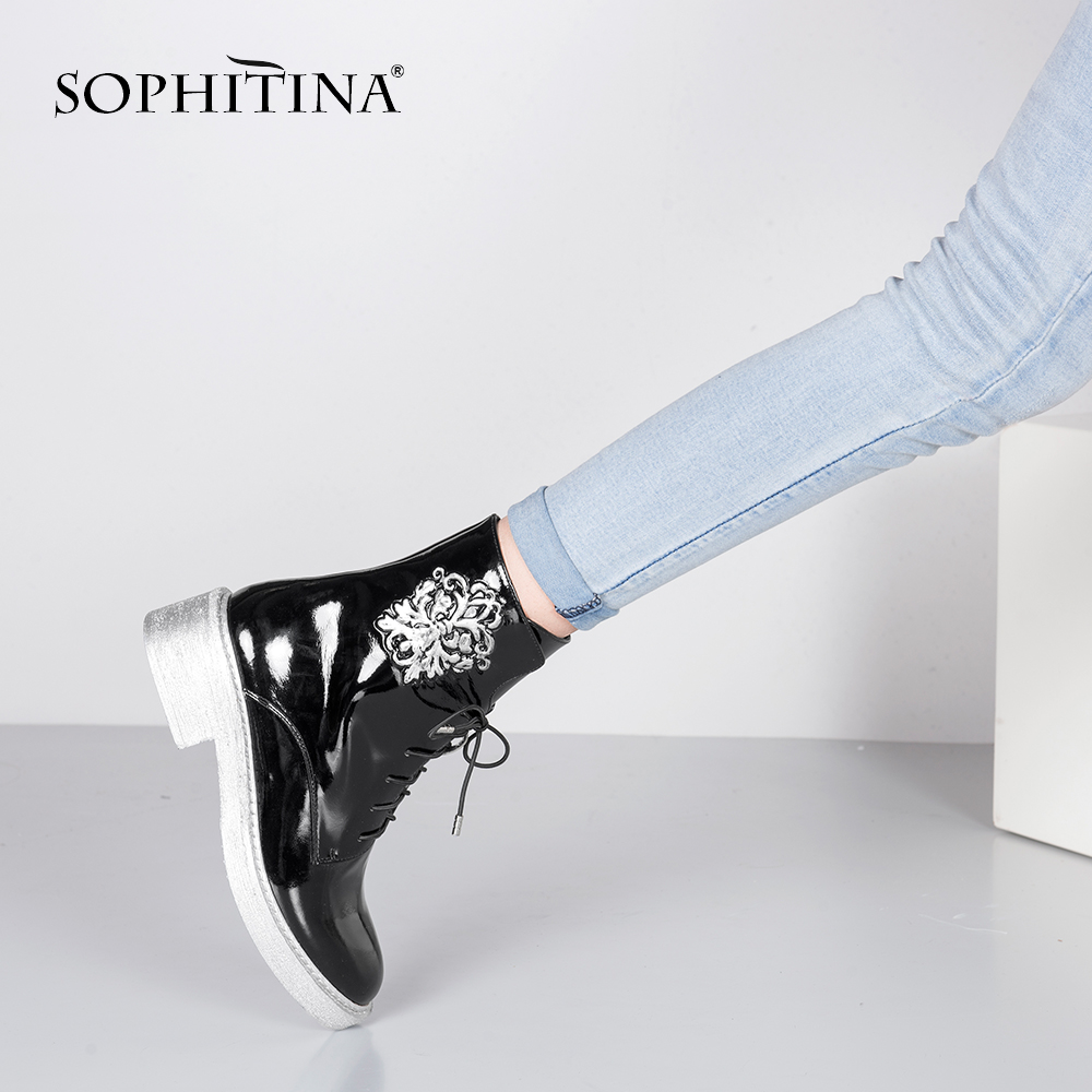 SOPHITINA Patent Leather Ankle Boots 2019 Hot Sale Black Round Toe Square Heels Lady Shoes High