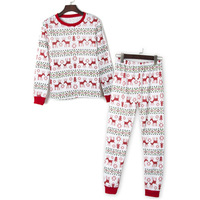 Women Winter Suits 2017 Fashion Christmas New Hoodies Crop Top + Pants Tracksuits Sets Feminino Sportsuits Homewear 2 Pieces set
