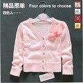 Varejo primavera outono camisolas das crianças outerwear Roupas de bebê rosa das meninas cardigan criança camisola camisa de tricô