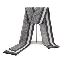 YISHLINE Fashion 180 X 30cm Thick Men scarves winter Soft Mens cashmere Viscose Tassel Scarf Modal gift for father Husband