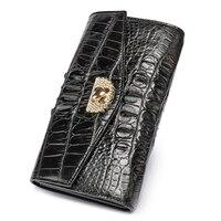 100% натуральная кожа аллигатора женский кошелек из крокодиловой кожи Кошельки и портмоне роскошный зажим для денег длинный кошелек