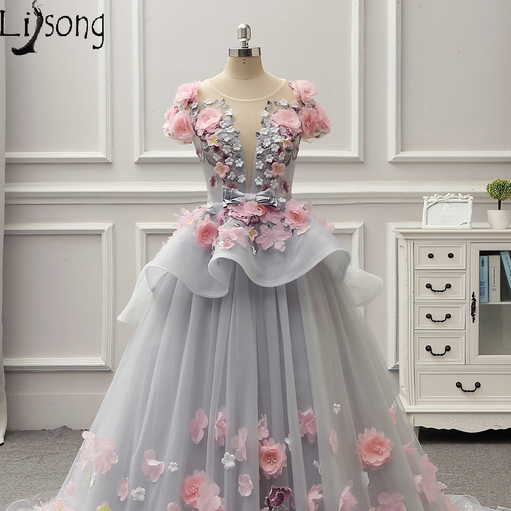 Gray blue Floral Evening Dresses Floor Hemline Short Sleeves Eye catching  Dreaming Party Maxi Gowns Formal Dress Red Carpet Gown-in Evening Dresses  from ... e17ea87cca99