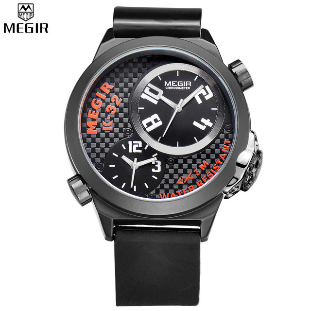 Megir hombres zona horaria múltiple Militar relojes caja de acero inoxidable negro silicona hombres reloj Relogio masculino/ml2003