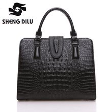 High Quality 100% Genuine Leather Women Bags Classic Aligator Women Handbags Fashion Brand  Women Shoulder Bag