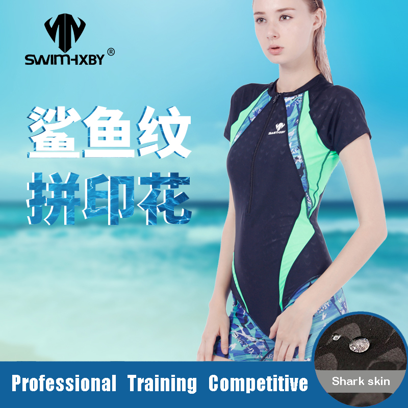 HXBY maillots de bain femme maillot de bain une pièce entraînement Zip manches courtes garçon jambe maillot de bain pour filles course natation costume grande taille 5XL