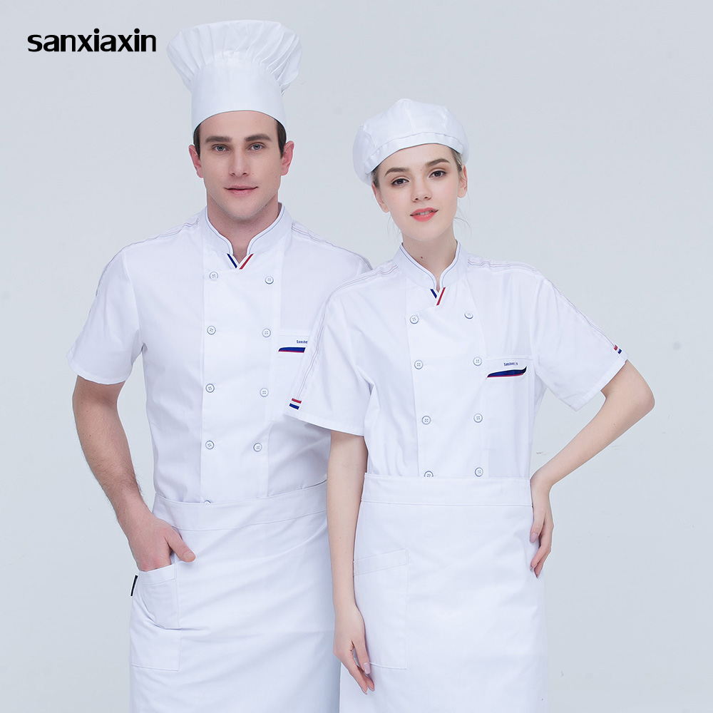 Food Service High Quality Chef Uniform Restaurant Catering Chef Clothes M-4XL Double Breasted Short Sleeves Chef Jacket 4 Colors