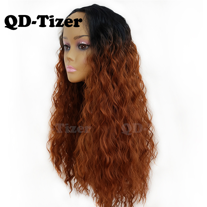 QD Tizer 180 Density Brown Loose Hair Lace Wigs Long Loose Curly Synthetic Lace Front Wigs
