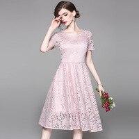 2017 grüne spitzenkleid eine linie tunika hohe taille elegante vintage trend kleidung rosa schwarz frauen kleider drop shipping
