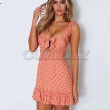 Cuerly Sexy ruffle bow polka dot dress women Summer elegant party short female vestidos Spring beach casual strap L5