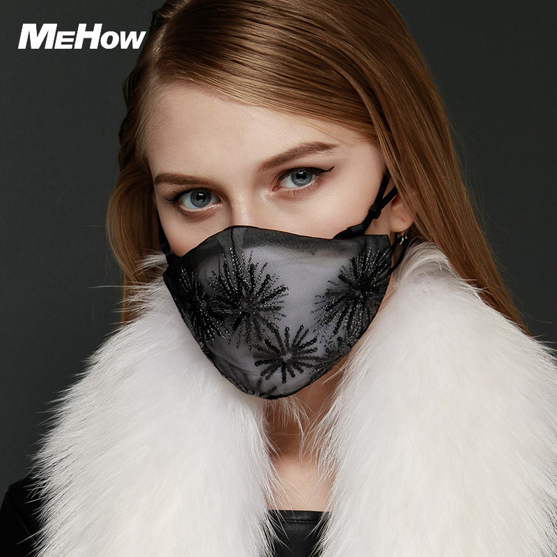 MeHow Black flower Embroidery Mouth-muffle Women PM2.5 Anti Haze Dust Nose Face Mask Respirator Dust Mask Thermal mask 300pcs anti fog dust disposable masks medical anti dust surgical face mouth face mask respirator for man women