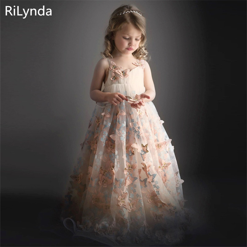 New Arrivals   Flower     Girls   Pink Sheer Back Tulle O-neck Ball Gowns Multilayer Little   Girls   First Communion Formal Wedding   Dress