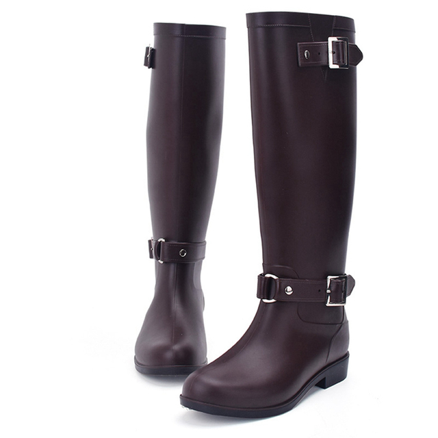PVC Casual Shoes For Women Rain Boots Girls Ladies Rubber Zip Buckle Outdoor Mid-calf Ladies Boots Female Low Heel Shoes Grapara