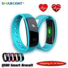 QS80 Bluetooth Smart Браслет сердечного ритма и Приборы для измерения артериального давления мониторинг сна для IOS Android-смартфон