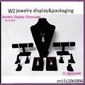 EMS Free Black Velvet Wood Jewelry Ring Pendant Necklace Holder Bracelet Display Set Stand Showcase For Window Counter Organizer